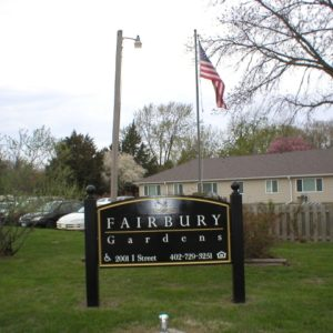 Fairbury Gardens Apartments sign